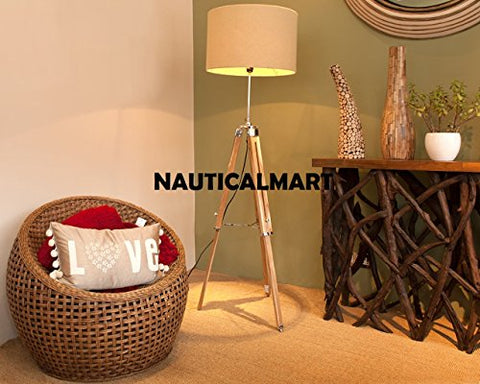 Designer Tripod Classical Chrome Natural Wood Floor Lamp For Living Rooms - llightsdaddy - NAUTICALMART - Lamps