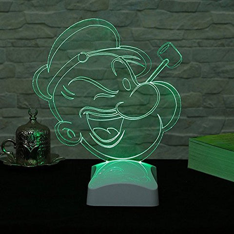 "Animation Hologram Table Lamp, 100% Plexiglass - Popeye with Pipe, Smile, Changing Colors - Size (8.7"" x 10.2""), 3D Illusion Minimalist Solid Bedside Table Lamp Living Room, Bedroom, Kids Room"