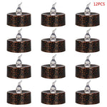 Fmingdou 12 Pcs Plated Black Candles Battery Operated Tea Light Flameless LED Electronic Candles for Halloween Festival Wedding Party Decoration - llightsdaddy - Fmingdou - Flameless Candles