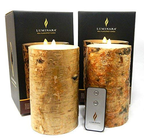 "2pc Luminara BIRCH BARK Flameless Candle 7"" In. Tall Wax Pillar Set w/ REAL BIRCH WOOD 4"" In. Diameter 