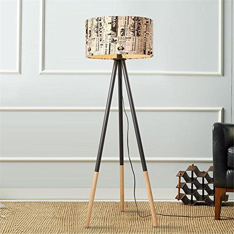 Atcoe Modern Floor Lamp American Style Graffiti Fabric Shade Wooden Tripod Standing Reading Lamp Light With Foot Switch For Bedroom Living Room - llightsdaddy - Atcoe Floor lamps - Lamp Shades