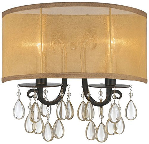 Crystorama 5622-EB Crystal Accents Two Light Wall Sconce from Hampton collection in Bronze/Darkfinish,