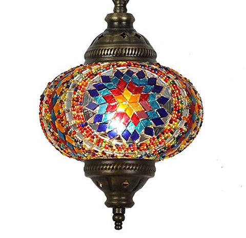 "(31 Models) Handmade Pendant Ceiling Lamp Mosaic Shade, 2019 Stunning 16.5"" Height - 7"" Globe, Turkish Moroccan Glass Lantern Arabian Bedside Home Decoration Light Bronze (Aegean)"