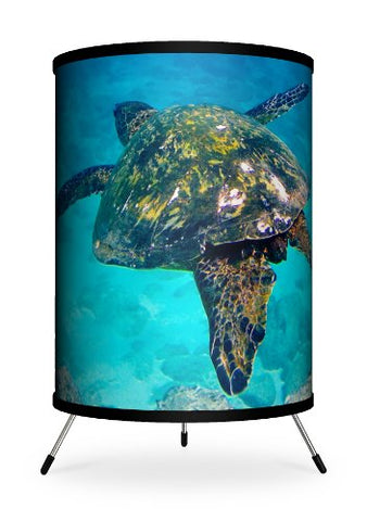 "Lamp-In-A-Box TRI-FAR-SDTUR Featured Artists - Sean Davey ""Turtle Soaring"" Tripod Lamp Majestic Turtle Soaring Through Crystal Blue Ocean"