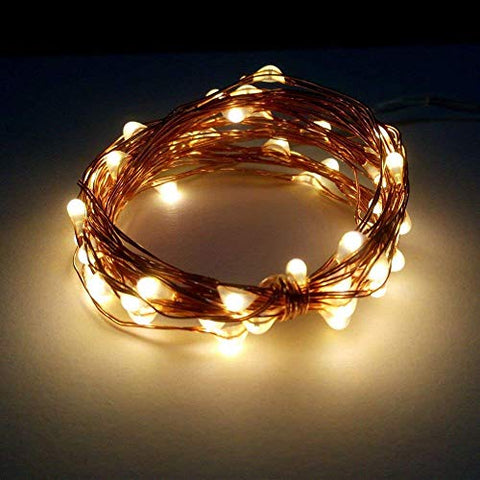 Dreamworth 2 Set 5M 50 LEDS Battery Operated Remote Contol LED String Lights Flexible Copper Wire Light LED Starry Lights Fairy Lights For Christmas Holiday Party Wedding(Warm white) - llightsdaddy - Dreamworth - Indoor String Lights