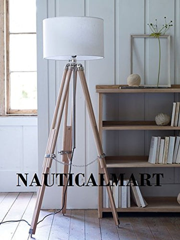 Floor Standing Industrial Wooden Tripod Classical Floor Lamp - llightsdaddy - NAUTICALMART - Lamp Shades