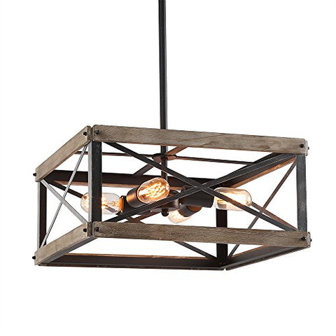 LNC 4 Square Foyer Pendant Rustic Chandeliers Kitchen Island Light fixtures, A03438lightsdaddy.myshopify.com lightsdaddy