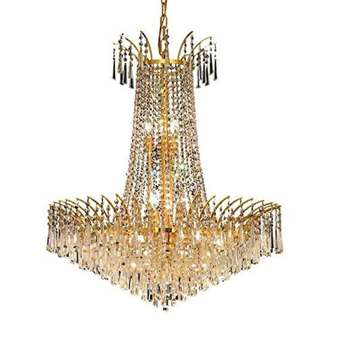 Elegant Lighting 8032D29G/EC Victoria Collection 16-Light Hanging Fixture with Elegant Cut Crystals Gold Finish