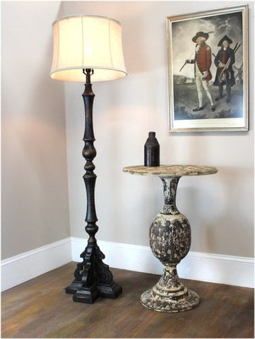 Black Floor Lamp La Femme Aged Black Painted French Country Finish & Shade - llightsdaddy - The King's Bay - Outdoor Floor Lamps