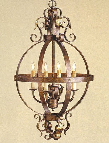 Currey and Company 9390 4 Light Coronation Sphere Chandelier Cupertino/Gold Leaf Finish