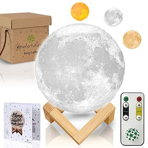 Moon Lamp Moon Light 3D Moon Lamp - [USA Seller] [Upgrade] 3 Color Moon Night Light with Stand - Mood Lamp Book, Globe, Cool Lamp, 5.9 in, USB Charging, with Wooden Stand, Box, Kids, Moonlight LED - llightsdaddy - Athena Futures - Night Lights