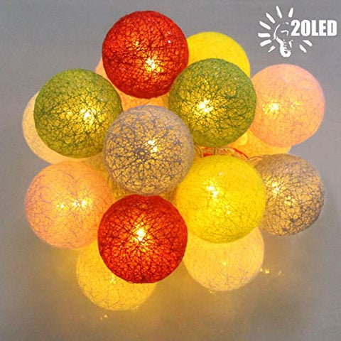 Decorative String Lights, Cotton Ball Hang String Lights With 20 Led Battery Operated For Fairy Garden, Wedding, Christmas Tree, Home Bedroom, Bachelorette Party Decorations(Mulit-Color)