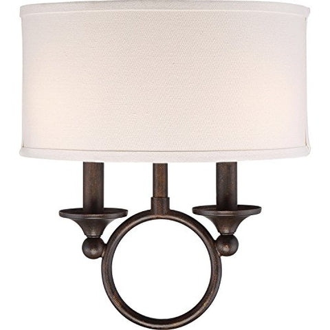"Quoizel ADA8702LN Adams Fabric Wall Sconce, 2-Light, 120 Watts, Leathered Bronze (14"" H x 12"" W)"