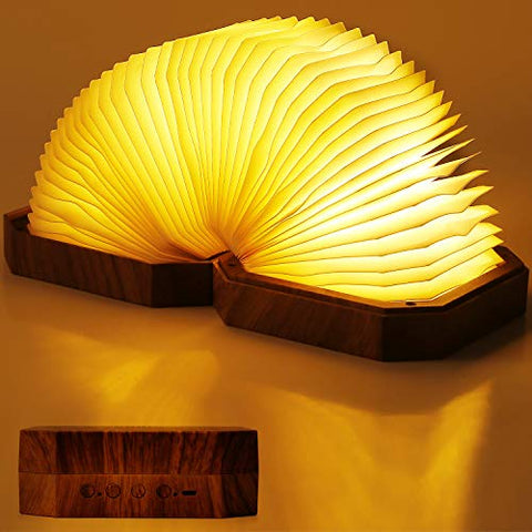 PUMICE LED Book Light Besides Lamp with Bluetooth Speakers Rechargeable Night Light with Hands Free Call Function Atmospheric Lamp for Sleeping Relaxing Camping- (Brown) - llightsdaddy - PUMICE - Book Lights