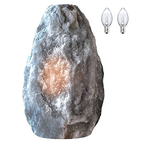 Himalayan Glow Hand Crafted Naked Grey Salt Crystal Lamp,Natural Salt Night Light,Salt Lamp with (ETL Certified) Dimmer Switch,Salt Lamp Bulb | 3-5 LBS (2 Extra Bulbs)