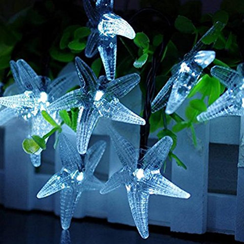 LEDMOMO 6m 30 LED Sea Star Solar String Lights Outdoor Waterproof Fairy Light String for Christmas Party Birthday Decoration with Solar Panel (Cool White Light)
