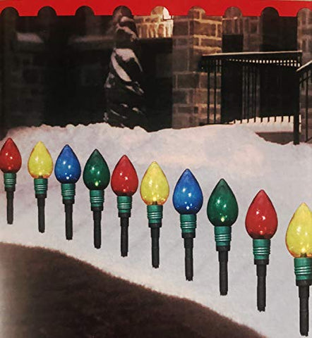 Multi-Color Light Bulb Pathway Markers - Set of 10 - Lighted Length 7.5 Ft.