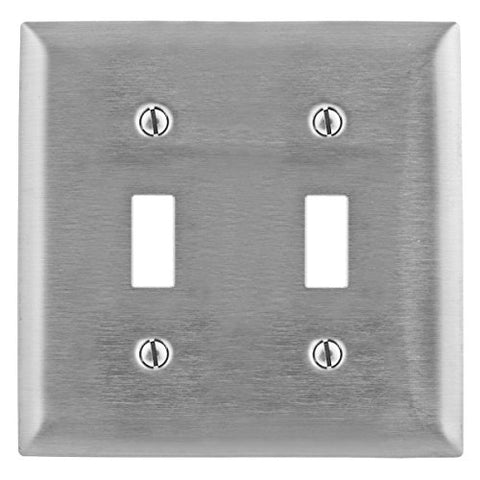 Toggle Switch Wall Plate, 2 Gang, Silver - llightsdaddy - HUBBELL WIRING DEVICE-KELLEMS - Wall Plates