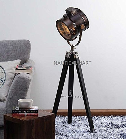 NAUTICALMART FLOOR STANDING BEAUTIFUL ANTIQUE BROWN TEAK WOOD TRIPOD FLOOR LAMP - llightsdaddy - NAUTICALMART - Lamp Shades