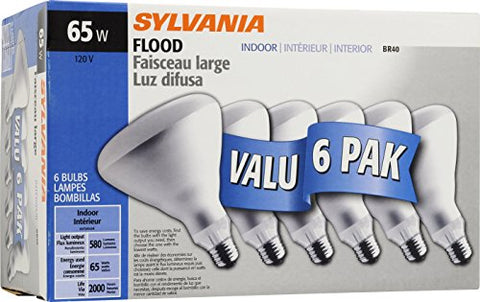 SYLVANIA Home Lighting 15391 Incandescent Bulb, BR40-65W, Soft White Finish, Medium Base, Pack of 6 - llightsdaddy - Sylvania Home Lighting - Wall Plates