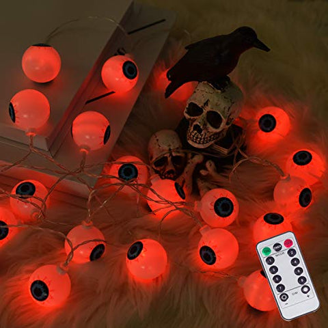 30 LED Halloween Eyeball String Lights, 8 Modes Fairy Lights with Remote, Waterproof Battery Operated Halloween Lights for Outdoor Indoor Party Christmas Halloween Decoration(Red)