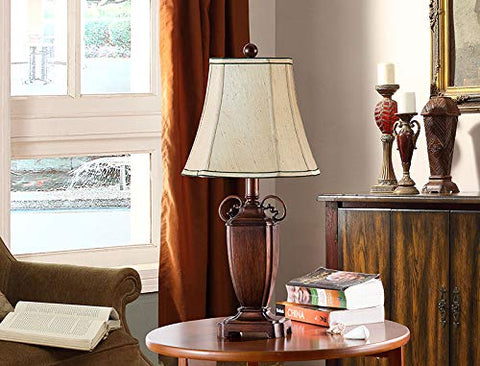 L2295 Set Of Two Table Lamps - Antique Brushed Red; Light Brown