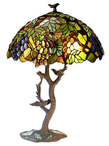"Chloe CH1B440GA20-TL2 20"" Shade 2 Light Tiffany-Style Featuring Leafs & Grapes Table Lamp Oval Shape, 34 x 20 x 20, Bronze"