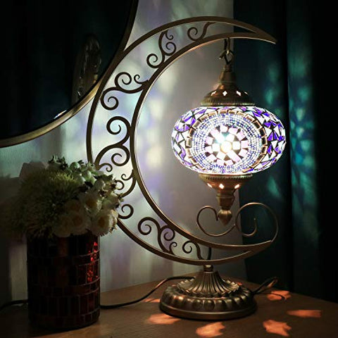 COMMODA Stunning Handmade Moon Shape Turkish Moroccan Mosaic Glass Table Desk Bedside Lamp Light Bronze Base Unique Table Lamp Room Decoration (Blue)
