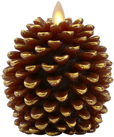 Luminara Pine Cone Candles: 3.5 x 4 Unscented, Battery Operated, Flameless Candles with Timer (Brown) with Gold Accents - llightsdaddy - Luminara - Flameless Candles