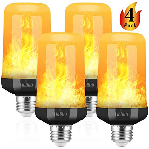 Led Flame Effect Light Bulb,Updated 4 Modes Flame Light Bulb For Christmas Decoration,E26 Base 7W Realistic Flame Effect Light Bulbs,Flickering Fire Light Bulb For Home Indoor Outdoor Dec (Black-4Pcs)