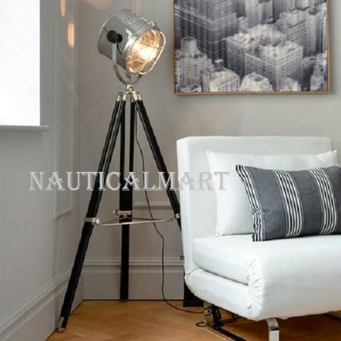 Industrial Tripod spotlight giant floor lamp searchlight - llightsdaddy - NAUTICALMART - Lamp Shades
