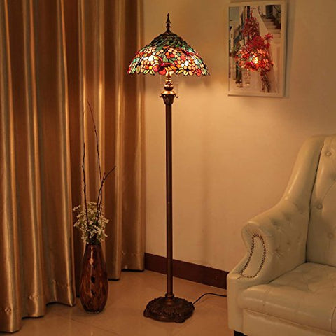 Bieye L10576 16-inches Butterfly Tiffany Style Stained Glass Floor Lamp