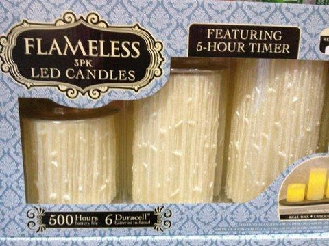 Flameless LED Candles - 3PK, 5-Hour Timer, Realistic Wick & Unscented Wax - llightsdaddy - Northern - Lamp Post Mounts