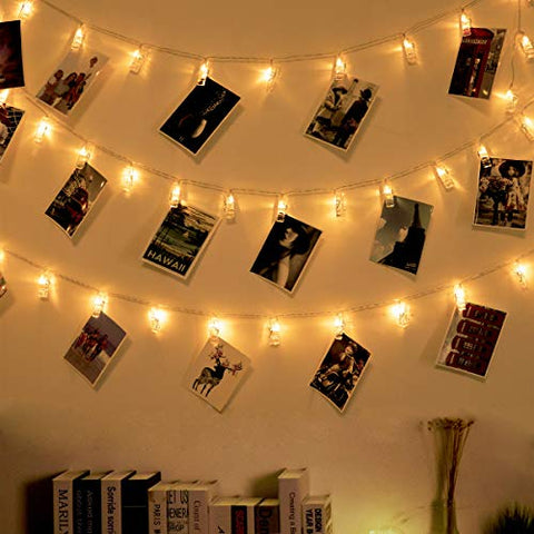 Ohbingo 30 LED Photo Clips String Lights 12ft USB Operated Twinkle Fairy Lights with Clips for Pictures Board, Cards, Artwork, Hanging Lights for Bedroom College Dorm Room Apartment Essential Decor