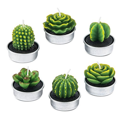 AMASKY Cactus Tealight Candles, Handmade Delicate Succulent Cactus Candles for Valentine's Day Birthday Party Wedding Spa Home Decoration(6 Packs) - llightsdaddy - AMASKY - Flameless Candles