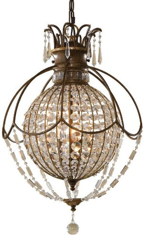 Feiss F2504/3OBZ/BRB Bellini Antique Pendant Lighting Oxidized Bronze 3-Light (18 Dia x 27 H) 180 Watts
