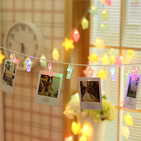 LIGHTESS Photo Clips String Lights Holder Remote Control Battery Powered 40 LED 13ft Christmas Lights Decorations for Xmas Holiday Hanging Picture Cards Wedding Party Decor, Multi-Color