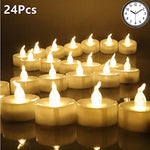 Micchow Battery Tea Lights With Timer, 6 Hours on and 18 Hours Off in 24 Hours Cycle, Pack of 24 Timing LED Battery-powered Unscented LED Fake Amber White Candles - llightsdaddy - Micchow - Flameless Candles