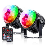 LKESBO Strobe Lights for Parties Disco Ball Light Sound Activated Halloween Lights Birthday 2 Pack 7 Color with Remote Control Lamp Portable DJ Light Party Lighting for Home Car Wedding
