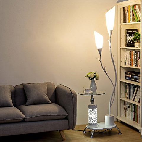 Modern Floor Lamp,with Glass Shelves, 2 Light White Acrylic Lampshade, Metal Decoration Stands Lamp for Living Room Bedroom,H171CM (Color : White) - llightsdaddy - LOFAMI - Lamp Shades