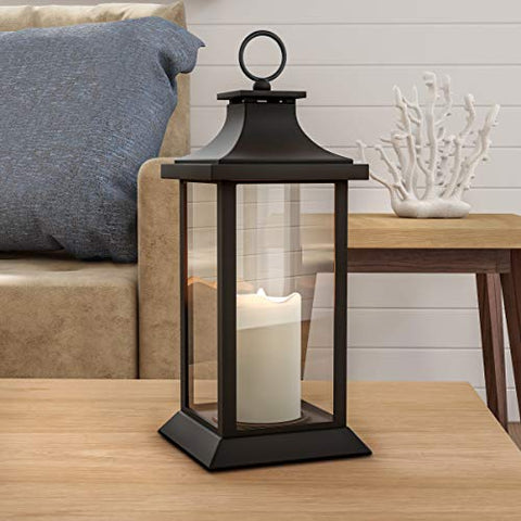 Lavish Home Decorative Lantern with Vintage Style Design-Color Changing Flameless LED Pillar Candle and Remote Control with Timer - llightsdaddy - Trademark - Flameless Candles