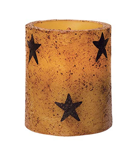 CWI Gifts Star Flameless Rustic LED Unscented Pillar Candle - 3 x 3.5 inch - Burnt Mustard Finish - On/Off Switch - 6 Hour Timer - Home Decor Lighting - llightsdaddy - CWI Gifts - Flameless Candles
