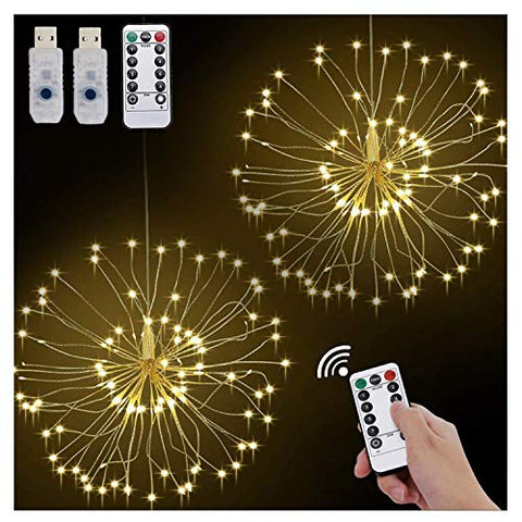 2Pack Diy Bouquet Firework Lights, 120Led Waterproof Hanging Fairy Copper Lights With Remote Control, 8 Modes Christmas Lights For In/Outdoor Garden Wedding Festival Decor(Warm Yellow, Usb Interface)