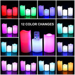 LED Multi Colored - Unscented Flameless Candle Weatherproof Outdoor Indoor 12 Colors Changing LED Candle Lights with 18 Keys Remote Control & Timer, 4-inch/ 5-inch/ 6-inch, Set of 3 - llightsdaddy - FASTIC - Flameless Candles