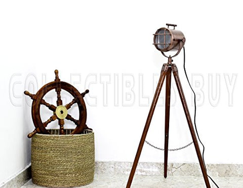Vintage Marine Copper Floor Lamp Nautical Searchlight Wooden Tripod Royal Corner Lamp Studio Lights - llightsdaddy - Collectibles Buy - Lamps