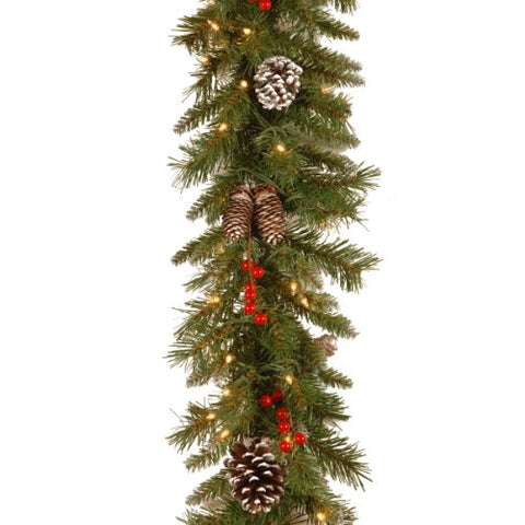 National Tree 9 Foot by 10 Inch Frosted Berry Garland with 100 Clear Lights (FRB-9GLO-1)  National Tree Company Indoor String Lights llightsdaddy.myshopify.com lightsdaddy
