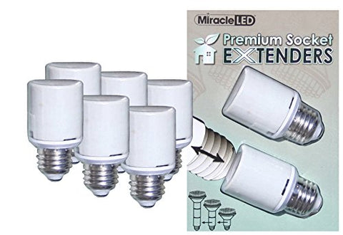 Miracle LED 604831 U.L. Listed Premium Socket Extenders for LED CFL and Incandescent light bulbs, 6 Pack (Three 2-Packs)