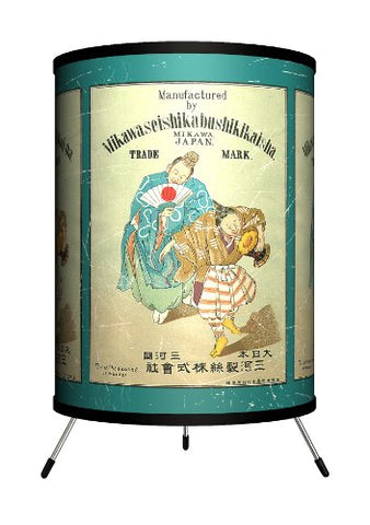 "Lamp-In-A-Box TRI-VLB-MIKAW Vintage Labels - Mikawa Tripod Lamp, 14"" x 8"" x 8"""