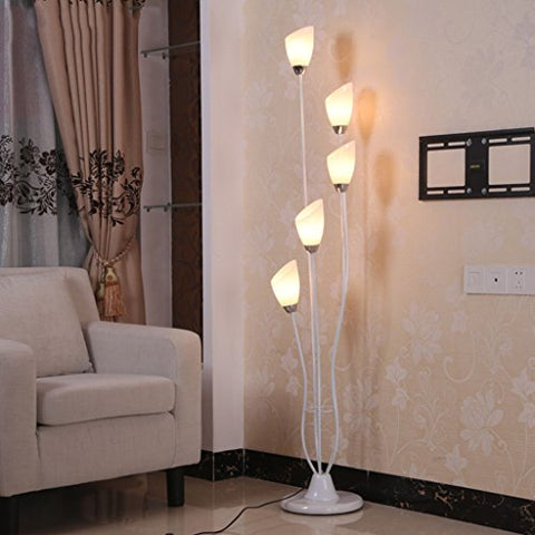 5 Light Floor Lamp, Modern Simple And Stylish Living Room Corner Bedroom Bedside Floor Lamp ( Color : Warm light ) - llightsdaddy - Floor lamps - Lamp Shades