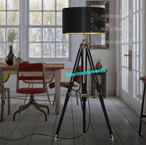 Classic Design for Contemporary or Traditional Living Rooms Black Wood Tripod Lamp - llightsdaddy - THORINSTRUMENTS (with device) - Lamp Shades